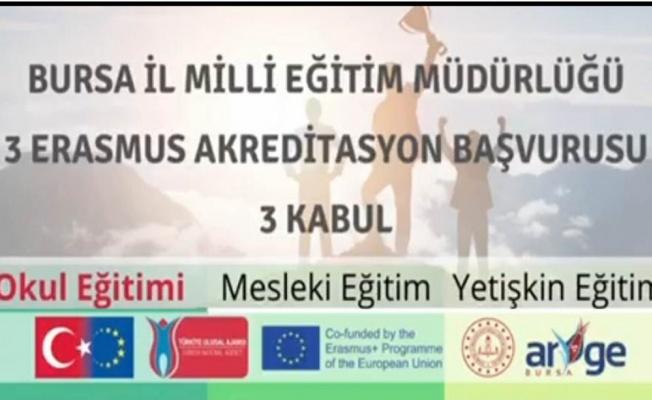 Bursa İl Milli Eğitim Müdürlüğüne 3 Ayrı Alanda Erasmus Akreditasyonu